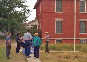 Visitors and ranger at the Au Sable Light Station.
