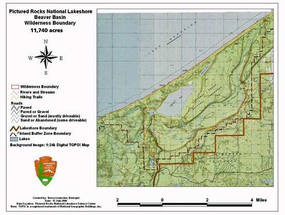 Map with legend shows the boundaries of the Beaver Basin Wilderness at Pictured Rocks National Lakeshore.