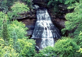 Chapel Falls cascades 60 feet down sandstone cliffs on its way to Chapel Lake.