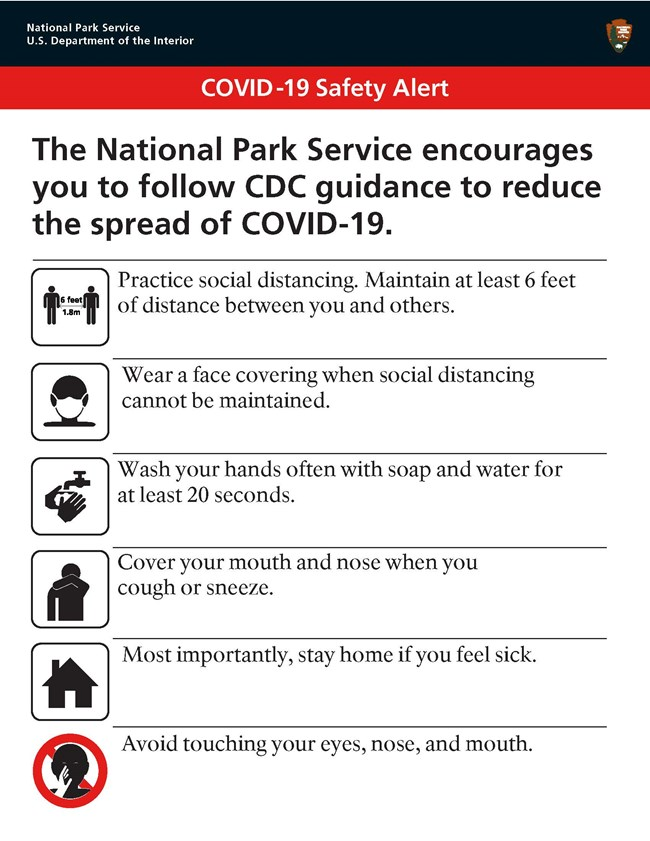COVID-19 Safety Alert, Keep 6 feet apart, wear a face covering, wash your hands for 20 seconds, sneeze into your elbow, stay home if sick, don't touch your face