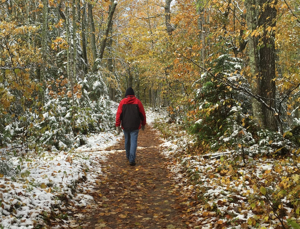 Hiking in the Fall with a little bit of snow of the ground