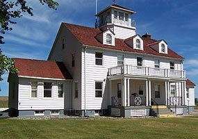 The former Grand Marais U.S. Coast Guard Station now serves as a Ranger Station at Pictured Rocks National Lakeshore.