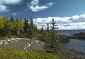 The rocky shore at Isle Royale National Park is on the way to Scoville Point.