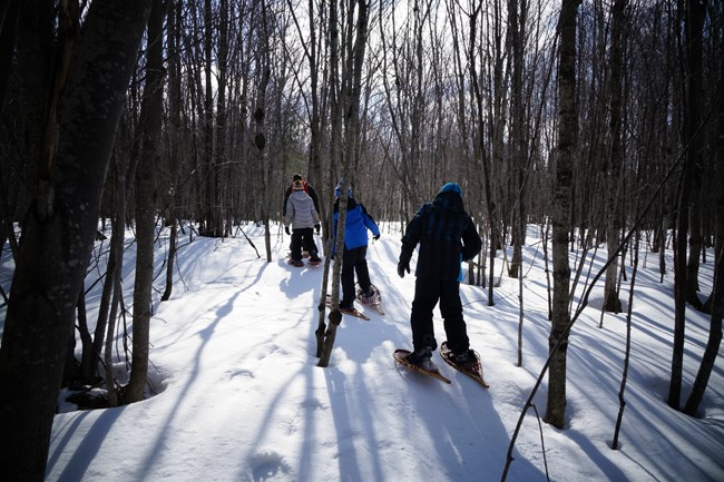 Kids snowshoeing in March