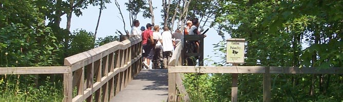 Visitors at the Log Slide enjoy views of Au Sable Point, the Grand Sable Dunes, and Lake Superior.