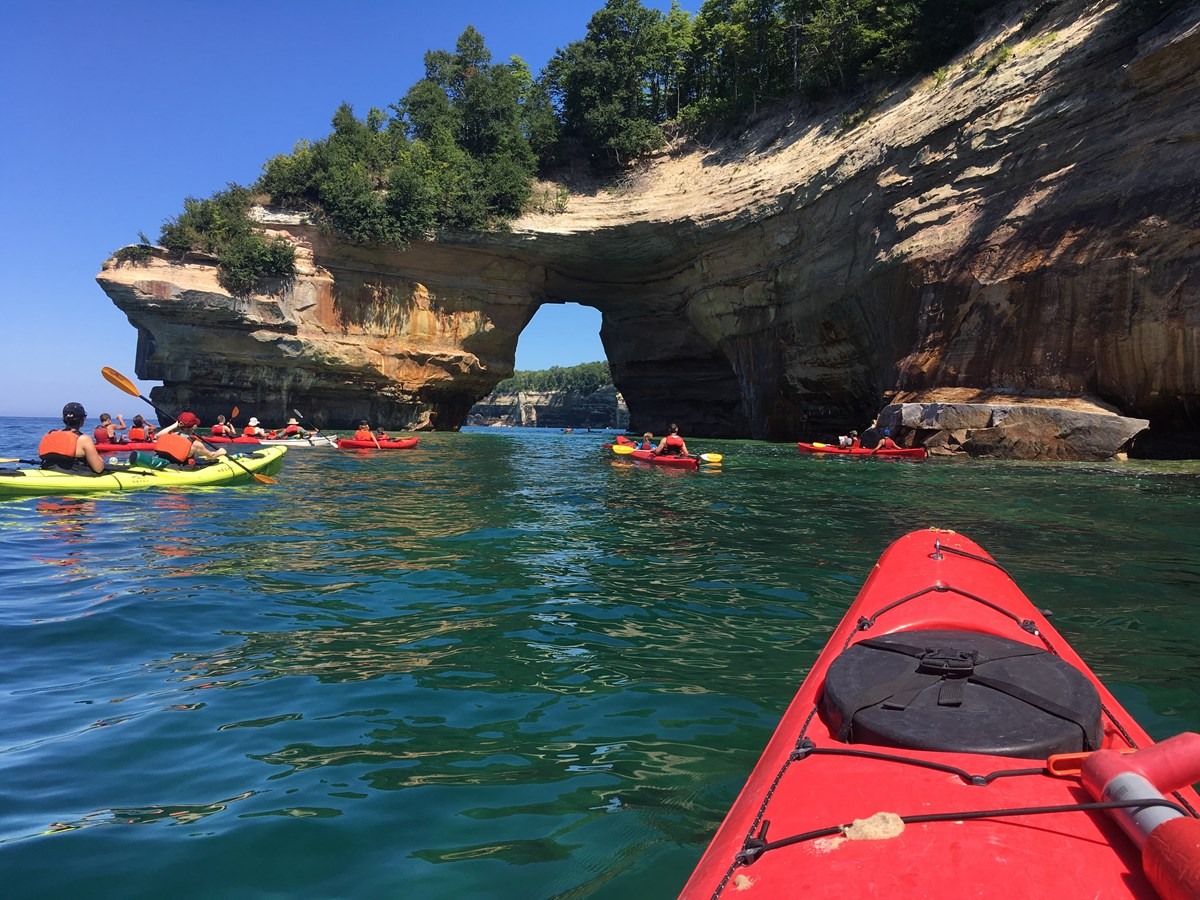 Kayakers near Lover's Leap, just east of Mosquito Beach