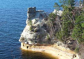 Miners Castle is the most familiar feature of the Pictured Rocks cliffs. It is easily accessible by automobile.