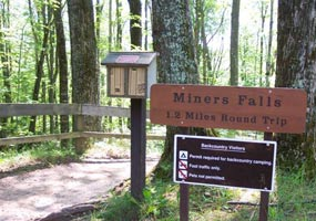 The trail to Miners Falls features a self-guided nature guide.