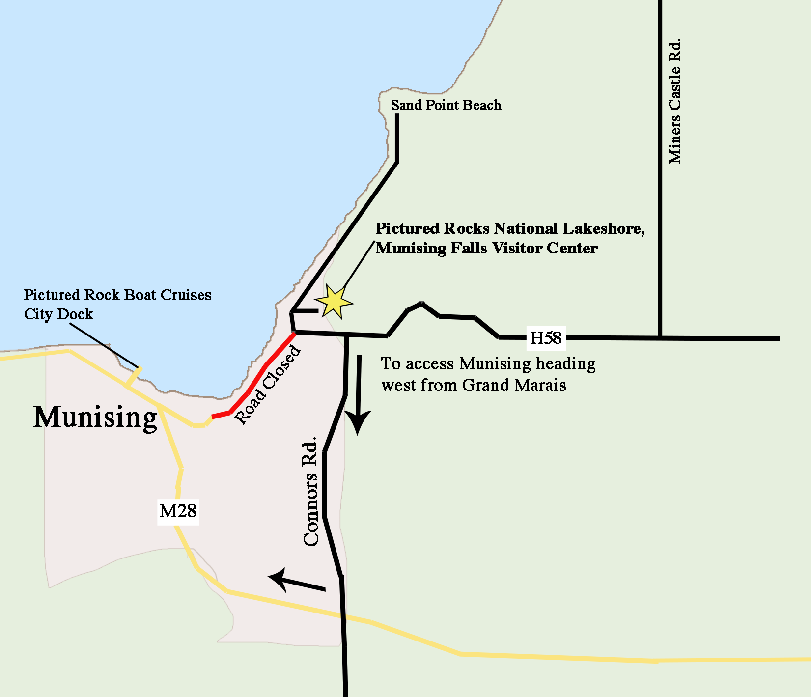 Pictured Rocks Michigan Map.Road Construction Pictured Rocks National Lakeshore U S National