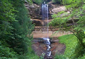 Munising Falls is located in a secluded cool valley at Pictured Rocks National Lakeshore.
