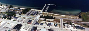 Aerial view of Munising Bay marina. State of Michigan photo.