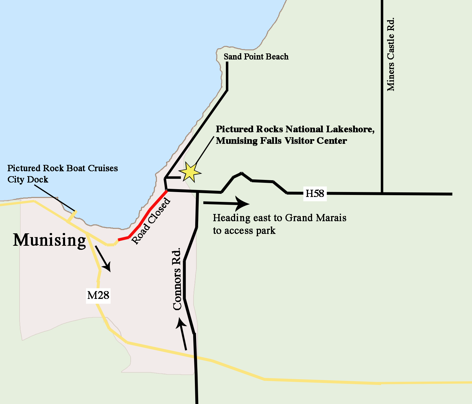 Picture Rocks Michigan Map.Road Construction Pictured Rocks National Lakeshore U S National