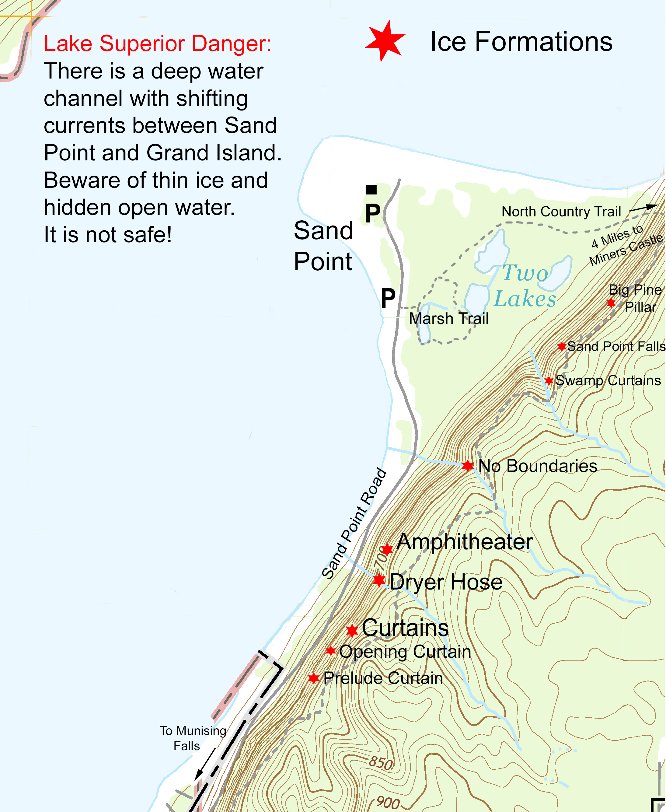 Pictured Rocks Michigan Map.Ice Caves And Ice Formations Pictured Rocks National Lakeshore