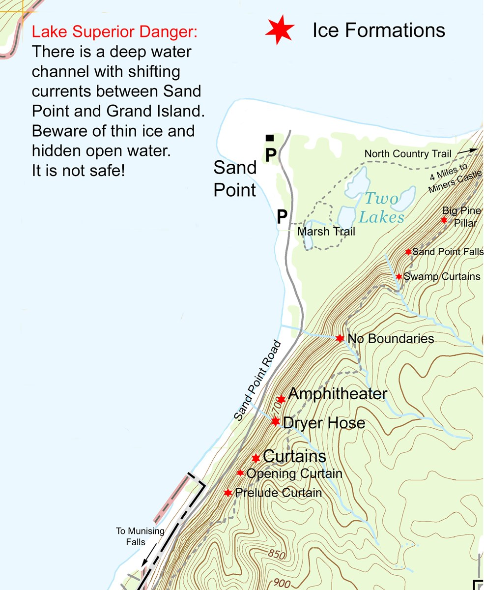 Map showing locations of ice formations along Sand Point Road in Pictured Rocks National Lakeshore.