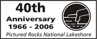 Pictured Rocks National Lakeshore celebrates its 40th anniversary in 2006, and created this special stamp to commemorate the occasion.  It features a sketch of the Pictured Rocks cliffs, created by Gregg Bruff.