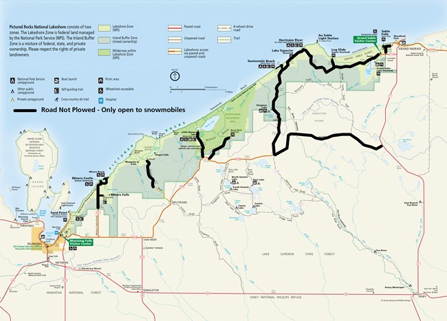 Pictured Rocks National Lakeshore map showing winter road closures