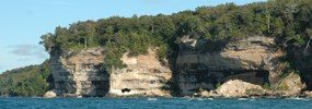 The cliffs of Pictured Rocks National Lakeshore along Lake Superior.