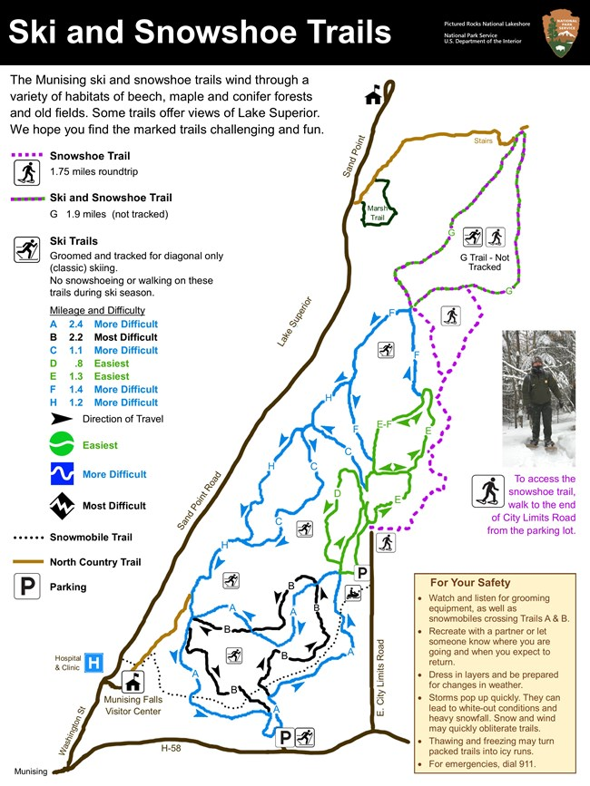 Map showing Munising ski and snowshoe trails. Trails are located east of Munising, atop the ridge above Sand Point Road and Lake Superior.