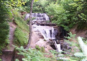 Sable Falls tumbles 75 feet down several sandstone cliffs.