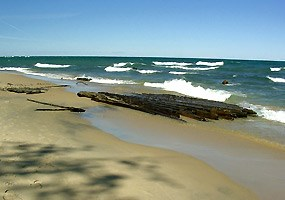 The remains of a shipwreck on the beach between Hurricane River and the Au Sable Light Station.