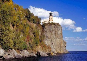 Split Rock Lighthouse is perched in a cliff high above Lake Superior.