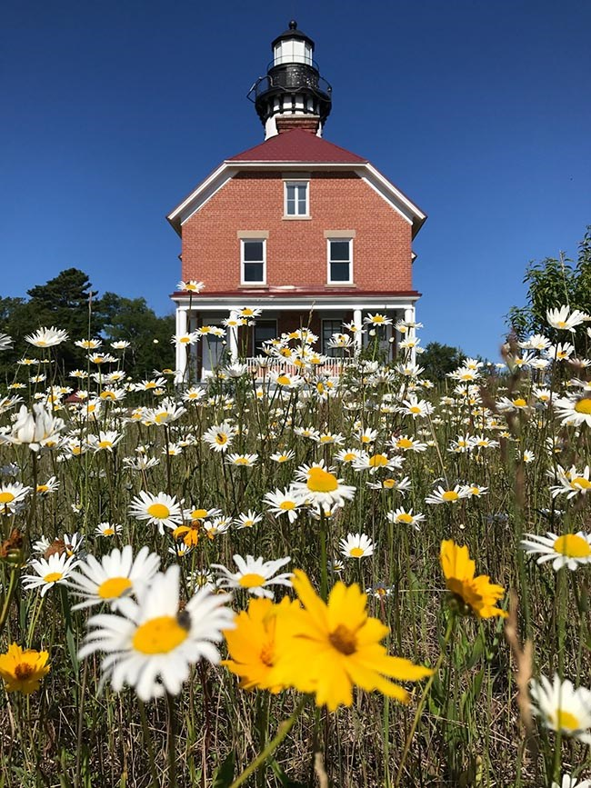 Au Sable Light Station with wildflowers