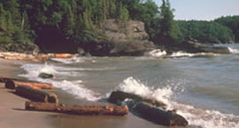 Lake Superior waves crash onto the north shore at Pukaskwa National Park in Canada.