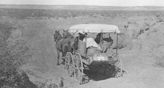 Photo of carriage traveling across Arizona Strip.
