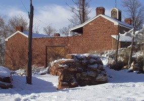 Winsor Castle at Pipe Spring National Monument during the winter.