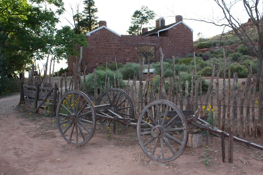 Wagon and Winsor Castle at Pipe Spring National Monument