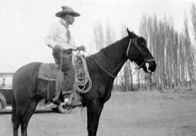 Moccasin Tom on a horse