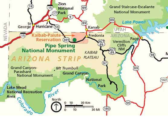 Pipe Spring Area map