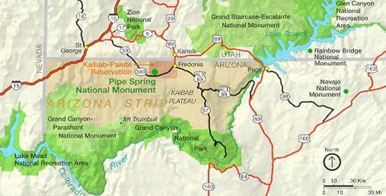 Map of Southern Utah and Northern Arizona