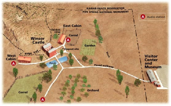 Grounds map of Pipe Spring National Monument.