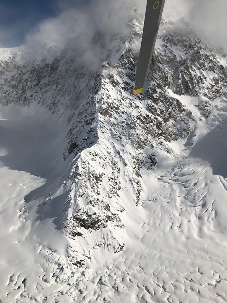 A view of the Southwest Ridge of Peak 11,300 from the park helicopter