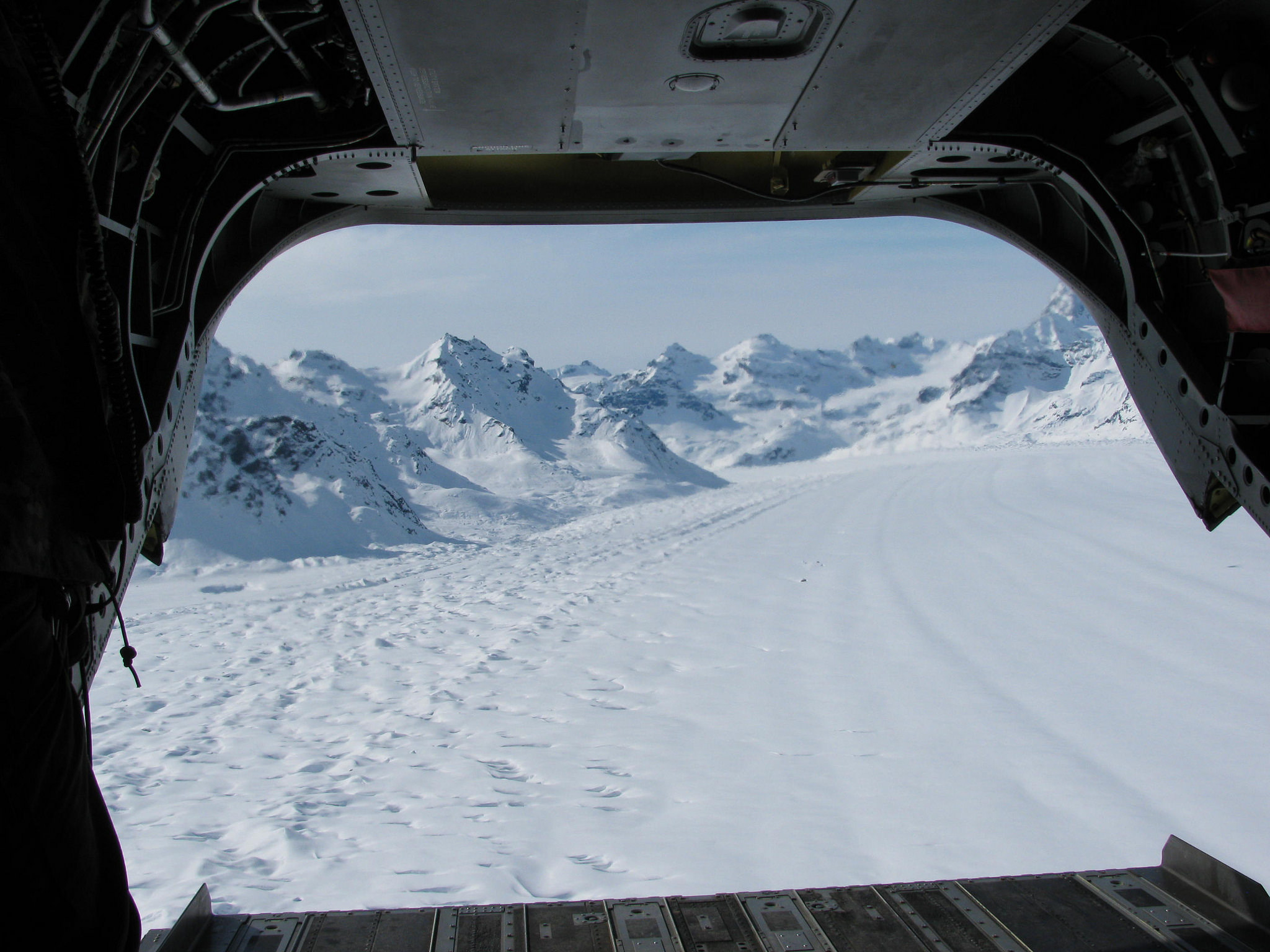First glimpse of Basecamp out of the back of the CH-47 Helicopter