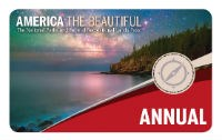 The 2019 Interagency Annual Pass appears with a mountain, water and night sky.