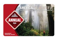 The 2021 America the Beautiful-The National Parks and Federal Recreational Lands Annual Pass with a photo of a hiker looking skyward while standing in a forest of giant redwood trees.