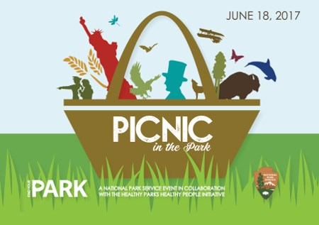 Picnic in the Park graphic showing picnic basket with park icons