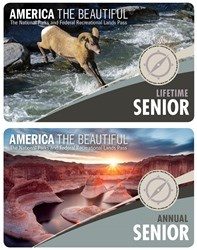 New lifetime Senior Pass with a bighorn sheep jumping over water and new Annual Senior pass with a river flowing through a red rock canyon