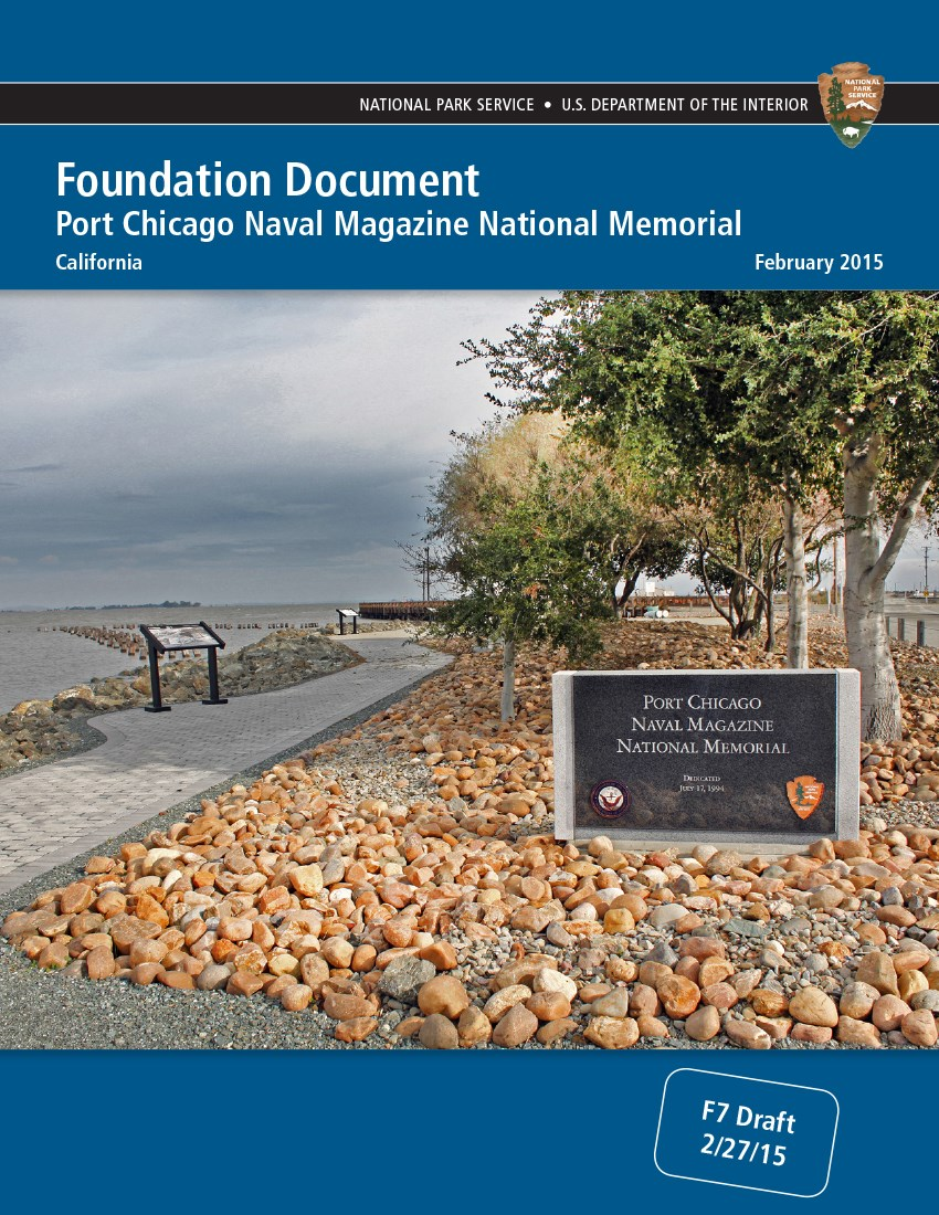 Cover of the Foundation Document book. Cover shows memorial sign next to bay.