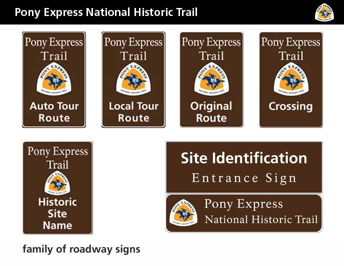 Pony Express auto tour route sign family. Includes a black banner and pony express trail logo with six brown signs labeled with Pony Express Trail.