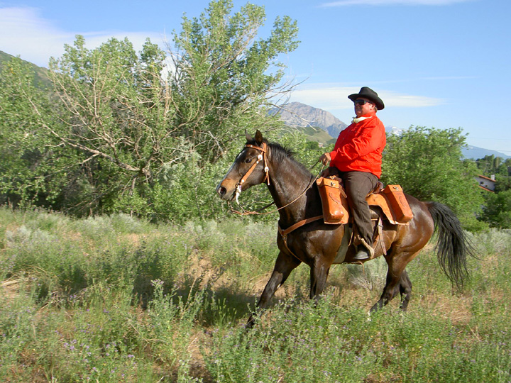 National Pony Express Association rider arrives with the mail in June or 2006.