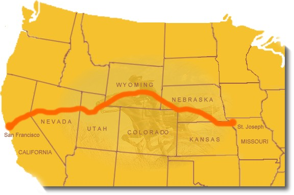 Map image showing the general route of the Pony Express National Historic Trail.