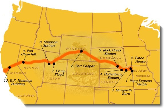 Photo image map of suggested Pony Express sites to visit.