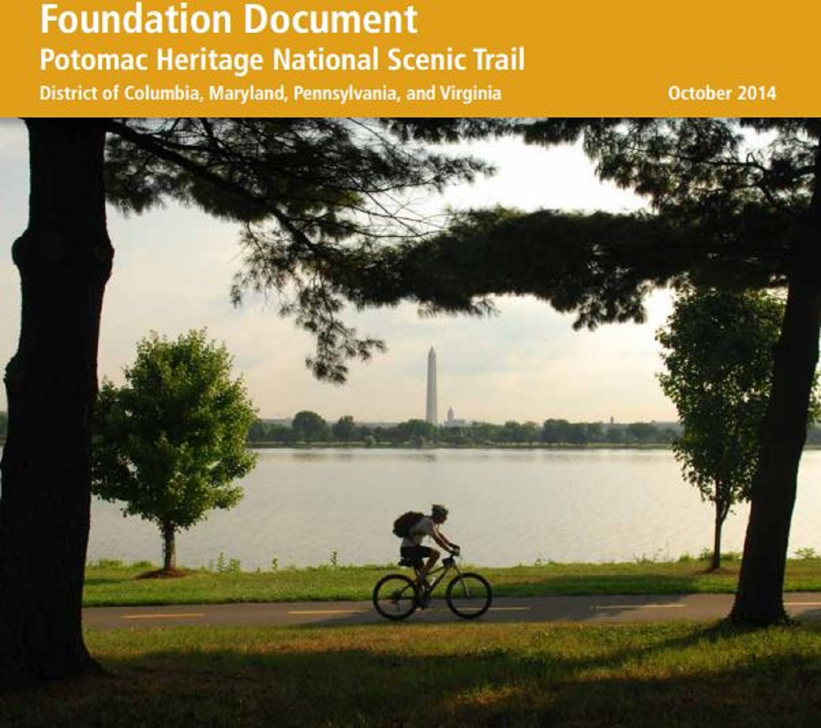 The cover of the Foundations Document for Potomac Heritage National Scenic Trail.