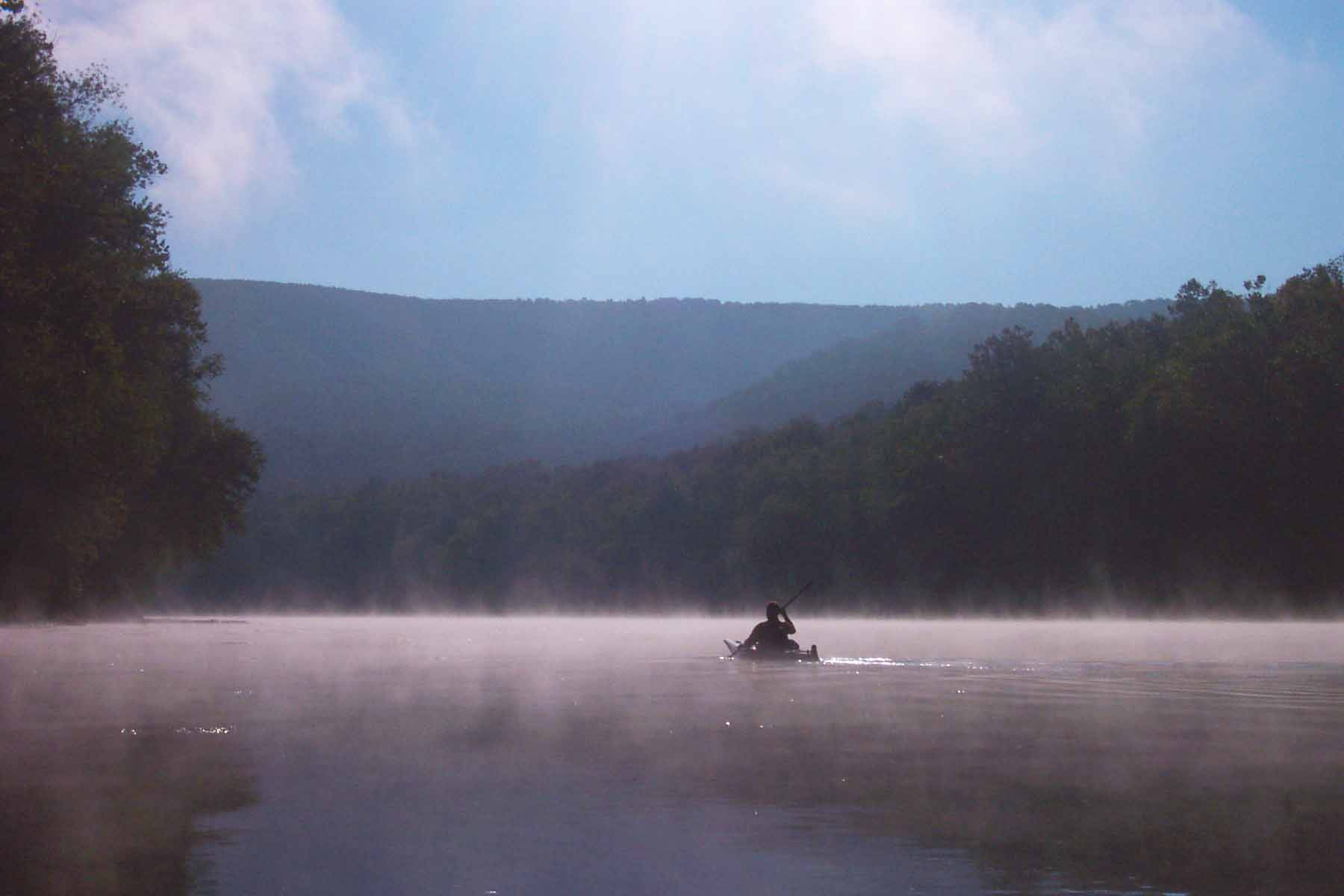kayak, mist, river