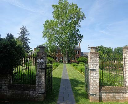 Historic Chatham Manor sits behind fields of gardens