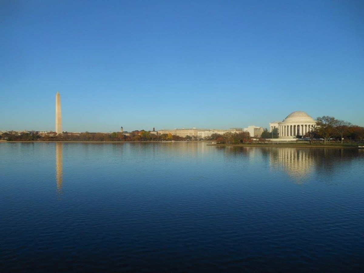 The Washington Monument and Jefferson Memorial from across the Potomac Tidal Basin