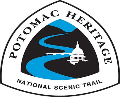 Triangle logo with a river and buildings representing the Potomac Heritage National Scenic Trail